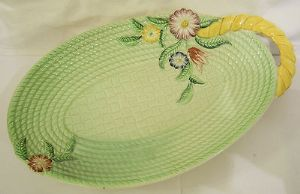 Carlton Ware 'Basket' Green Embossed Single Handle Sandwich Tray - 1940s